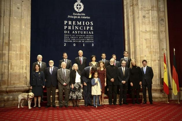 Recepción de los Príncipes a los premiados con los Premios Príncipe de Asturias 2013